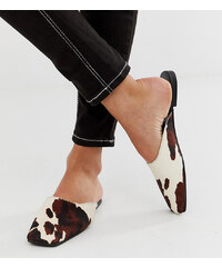 f241569af9e0 Mango cow print effect leather slip on mule in brown - Brown