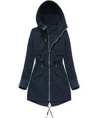 b32e563756a1 MHM Oboustranná tmavě modrá bunda parka s kapucí (W0236BIG)