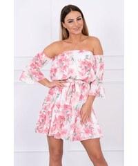 f0313969e004 MladaModa Šaty bez ramienok s kvetinovým motívom pudrovo ružové