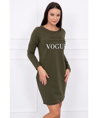 ec54f8e05c3a MladaModa Šaty s nápisom Vogue farba khaki