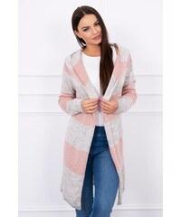cb723a703ad4 MladaModa Dlhý sveter s kapucňou pudrovo ružový+béžový+šedý