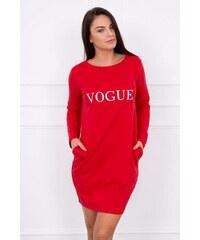 98a5693d8002 MladaModa Šaty s nápisom Vogue červené