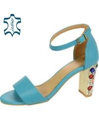 8b143203e3c5 OLIVIA SHOES Tyrkysové dámske sandále na podpätku s kryštálmi DSA2050