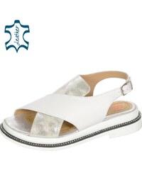 5fa2aa59635f OLIVIA SHOES Bielo- strieborné nízke pohodlné dámske sandále s čiernym  lemom DSA2072