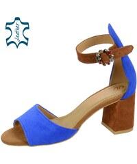 878635e2c7d0 OLIVIA SHOES Modro-hnedé dámske sandále na hrubom podpätku DSA036