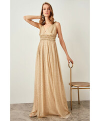 731dcbfc48a7 Trendyol Black Waist And Shoulders Detailed Dress Gold