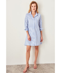 868cd5465de1 Trendyol Blue Striped Shirt Dress Navy