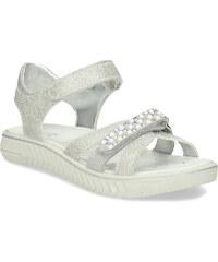 f3345448c47a Mini B Dievčenské strieborné sandále s perličkami