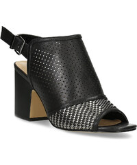2315a9ba32 Insolia Čierne sandále s perforáciou a stabilným podpätkom