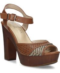 06a9c1e2e9 Insolia Dámske hnedé sandále na stabilnom podpätku
