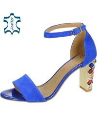 1ea2ac360205 OLIVIA SHOES Modré elegantné sandále na podpätku s kryštálmi DSA2050