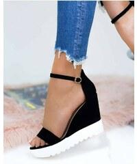 0b089ebefa41 Yes mile Čierne letné sandále na platforme