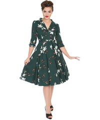 52c8557048d4 Dedoles Zelené retro pin up šaty s rukávem Lílie S