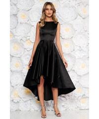 d8b24248d5 StarShinerS Fekete szatén anyagból elegáns alkalmi aszimetrikus ujjatlan  harang ruha