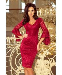 c20b513b9182 NUMOCO Bordó krajkové šaty s rozšírenými rukávmi 234-1