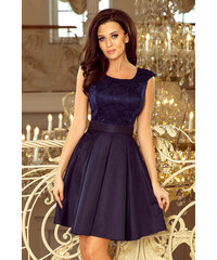 e36d3e6c5ef0 NUMOCO Tmavo modré elegantné šaty s čipkou 244-2