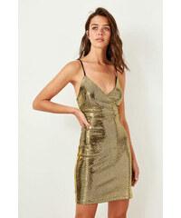 d07987a51b40 Trendyol Black Halter Dress Gold