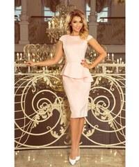 55f283855969 Numoco dámské pouzdrové šaty s volánem 192-8 pudrově růžové