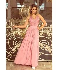 126aac87c0d0 Numoco dámské dlouhé šaty s krajkou 215-3 růžové