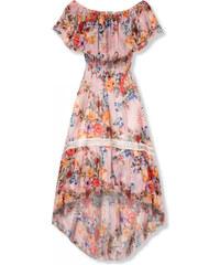 9cce91ec38cc Trendovo Ružové asymetrické kvetinové šaty