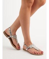 ab3ce9b0a93e QUEENTINA Stříbrné sandále s dekorací