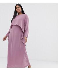 cbc62025a0b4 Ever Pretty plesové šaty starorůžové 8742. V 7 velikostech. Detail produktu  · Verona Curve long sleeved layered dress in dusty rose - Pink