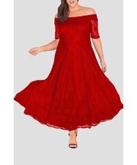 cfe84d73ae43 Bellazu GB Dlouhé krajkové šaty Marble s krátkým rukávem červené