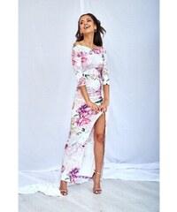 a24e32066390 Mosquito Biele kvetované úzke MAXI šaty WHITE ROSE PRINT