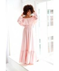 5b56f8fcb568 Mosquito Púdrovo ružovéjednofarebné MAXI šaty so širokým volánom