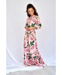 88b5f9ff2c9f Mosquito Ružové kvetované MAXI šaty s viazaním PINK PEONIA