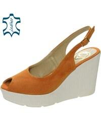 3f296c2d8b67 Oranžové dámske sandále na platforme DSA029