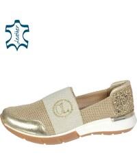 04f39cb5cc OLIVIA SHOES Béžovo-zlaté brokátové slip on s gumou TITANIO B801