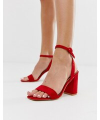 6f603fad48 RAID Wink bright red square toe block heeled sandals - Red micro