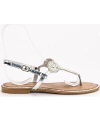 5d8f3eea52 BASIC Strieborné dámske sandále BY0007S