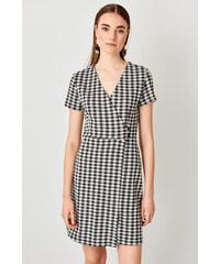 a972d81e035f Trendyol Black Gingham Knitted Dress Beyaz Kadife