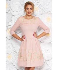 72f9659eb1 StarShinerS Rózsaszínű elegáns harang ruha enyhén rugalmas anyag belső  béléssel csipke díszítéssel