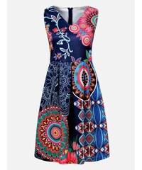 ad711f89acd1 LAURA LONDI Modré vzorované dámske šaty Blumenau