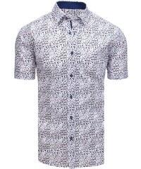 3c1bab0e75ea Dstreet Biela pánska elegantná košeľa so vzormi a krátkym rukávom