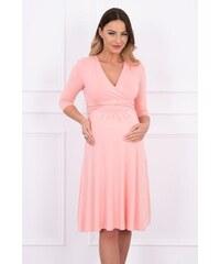 8a28221d755b MladaModa Voľné šaty s preväzom pod hrudníkom model 8314 ružové