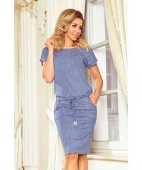 f927129e382f Numoco Sportovní šaty s krátkými rukávy světle modrý denim