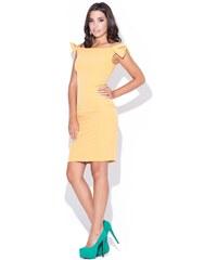 Pouzdrové šaty KATRUS s mašlemi na ramenou (vel.S,M skladem) S žlutá Dopravné zdarma!