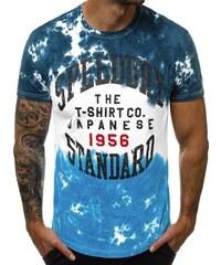 6e6f9e5a58 Ozonee Granátovo-modré tričko s potlačou JS SS100718