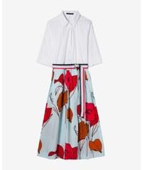 82c51a36cff5 Luisa Cerano Dámske košeľové midi šaty biele s kvetovanou sukňou