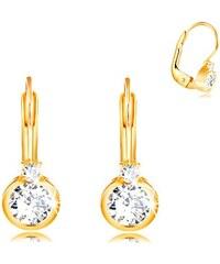 ca5105f1a Šperky eshop - Náušnice zo žltého 14K zlata - väčší okrúhly zirkón v  objímke a drobný