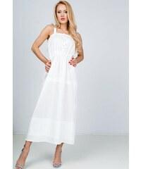 7aba83a05682 Rouzit Smotanovo biele dlhé šaty na ramienka