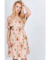c7062efa6a45 Rouzit Midi béžové kvetované šaty s lodičkovým výstrihom