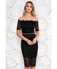 10b8d00ce3 Fekete StarShinerS alkalmi midi ruha szűk szabás csipkés anyag belső  béléssel övvel ellátva