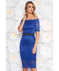 757673229b Kék StarShinerS alkalmi midi ruha szűk szabás csipkés anyag belső béléssel  övvel ellátva