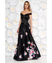 ecb1bc15cf StarShinerS Fekete Artista alkalmi ruha szatén anyagból virágmintás  díszítéssel harang váll nélküli