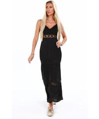 8ce955bbc74e Černé dlouhé šaty Fasardi s krajkou